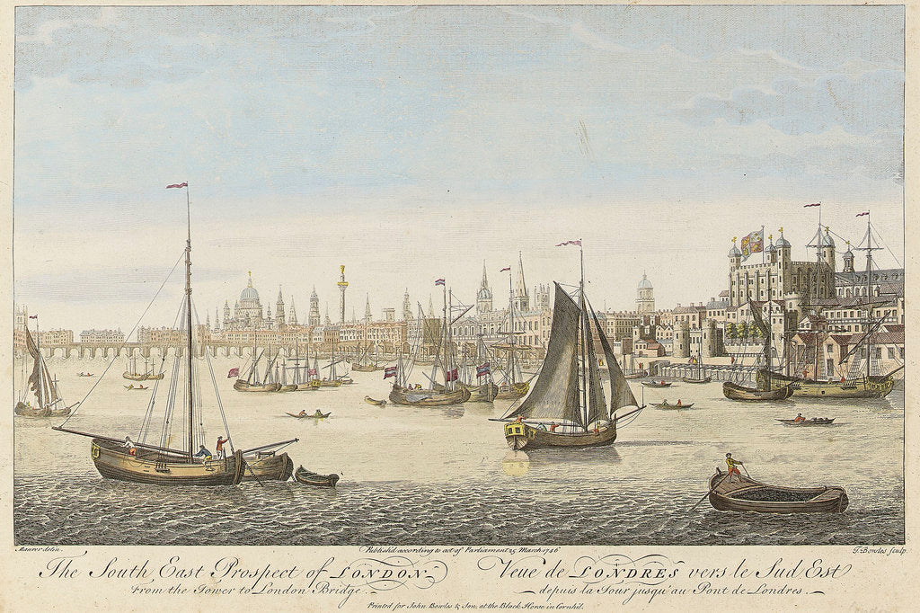 Detail of The South East Prospect of London From the Tower to London Bridge by Maurer