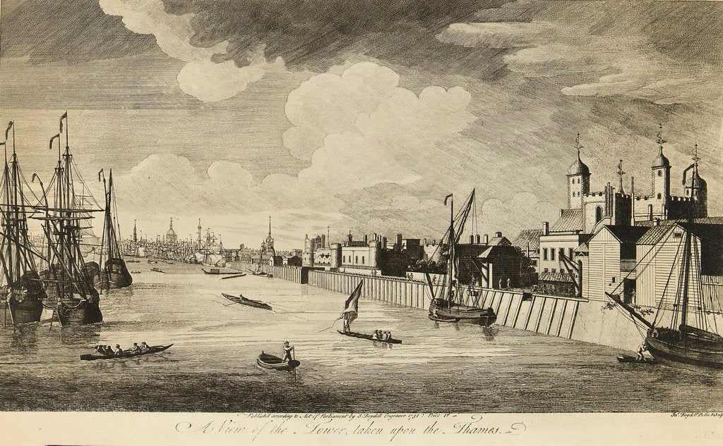 Detail of A view of the Tower taken upon the Thames by John Boydell