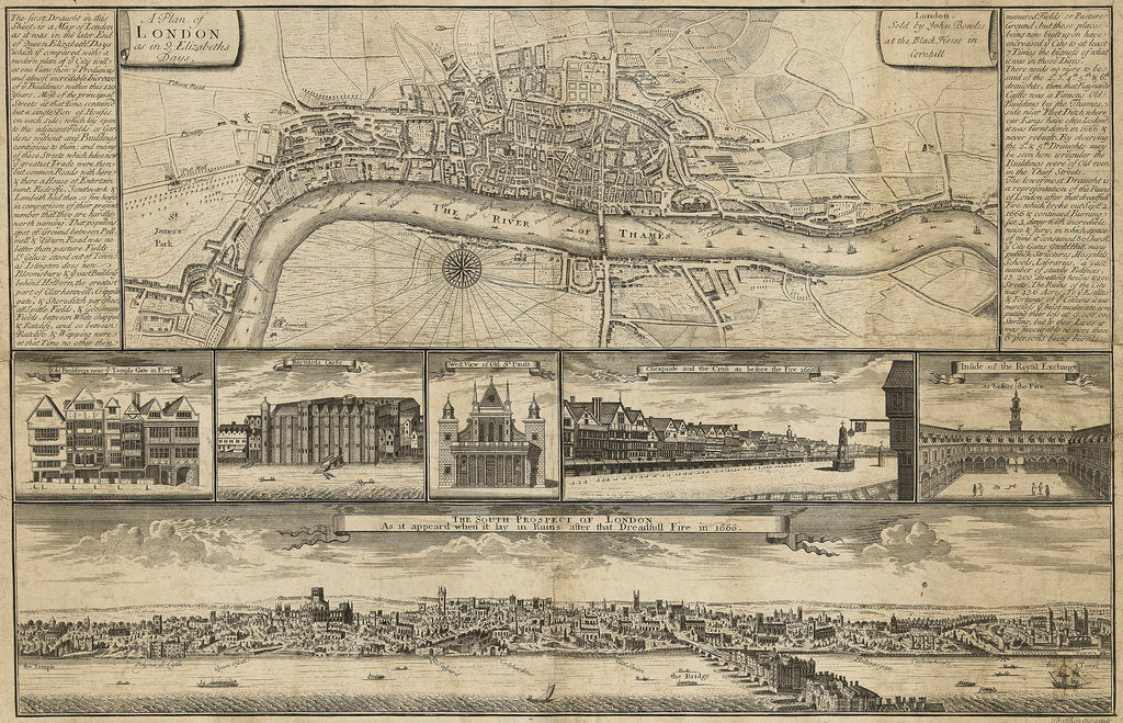 Detail of A Plan of London as in... Elizabeths Days by Thomas Bowles