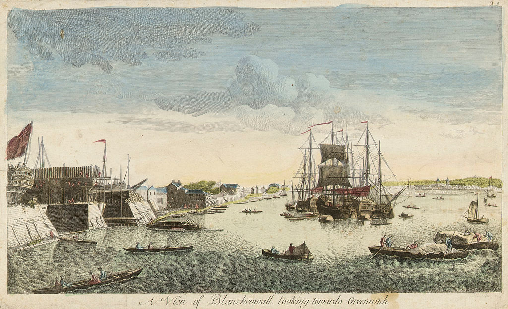 Detail of View of Blackwall looking towards Greenwich by J. Heudelot