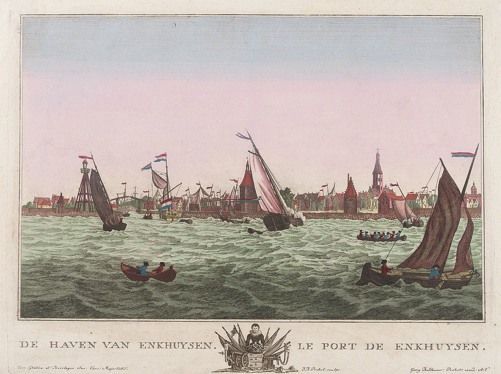 Detail of The harbour of Enkhuysen by F.B. Probst