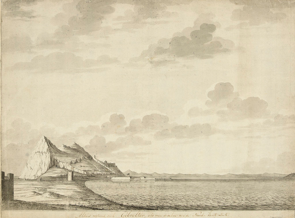 Detail of A view of Gibraltar from the north by unknown