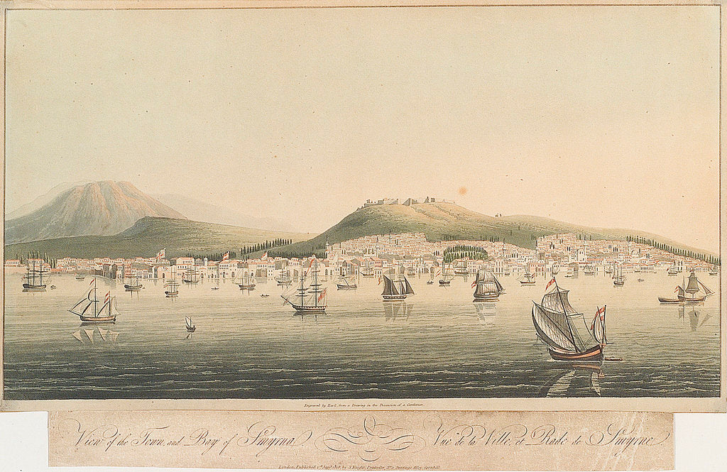 Detail of View of the town and bay of Smyrna by Havil