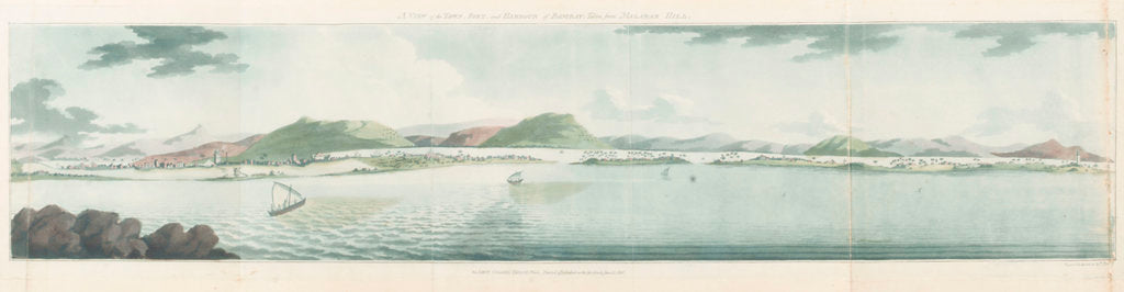 Detail of A view of the town, fort, and harbour of Bombay; taken from Malabar Hill by T. Ra--e