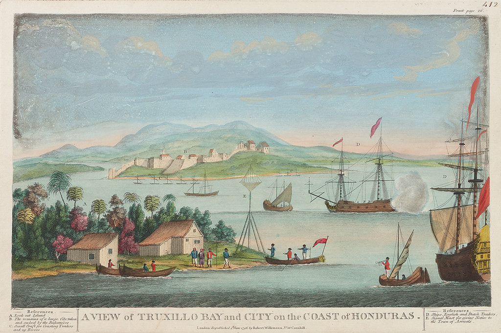 Detail of A view of Truxillo Bay and city on the coast of Honduras by T. Bowen