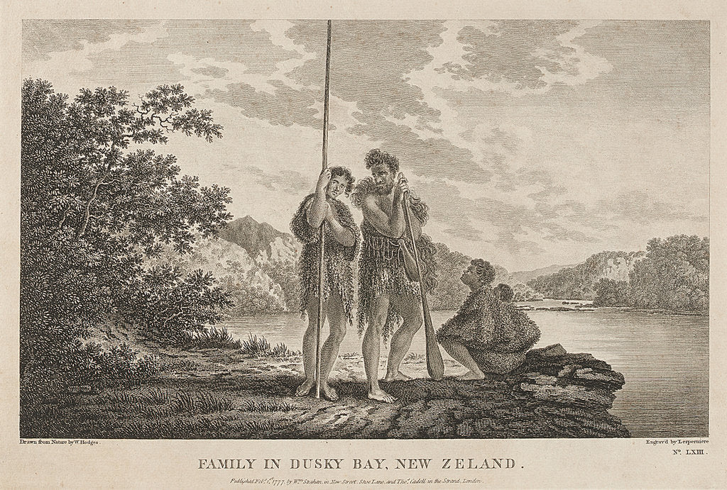 Family in Dusky Bay, New Zealand by William Hodges