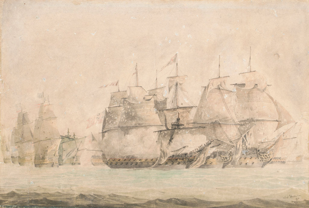 Detail of Battle of St. Vincent, Nelson in the 'Captain' boarding and capturing the two line of battle ships on the 14 February 1797 by Jahleel Brenton