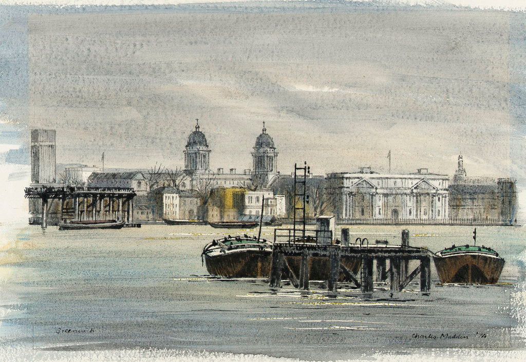 Detail of Greenwich. View across the river from the north showing the Royal Naval College and other buildings, with barges in the foreground by Charles E. Madden