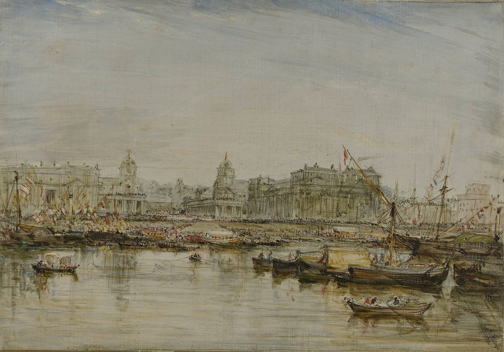 Detail of Visit of William IV to Greenwich, 1835 'King William the 4th & Queen Adelaide went in an open boat to breakfast with Sir Thos Hardy the Governor of Greenwich Hospital' by James Holland