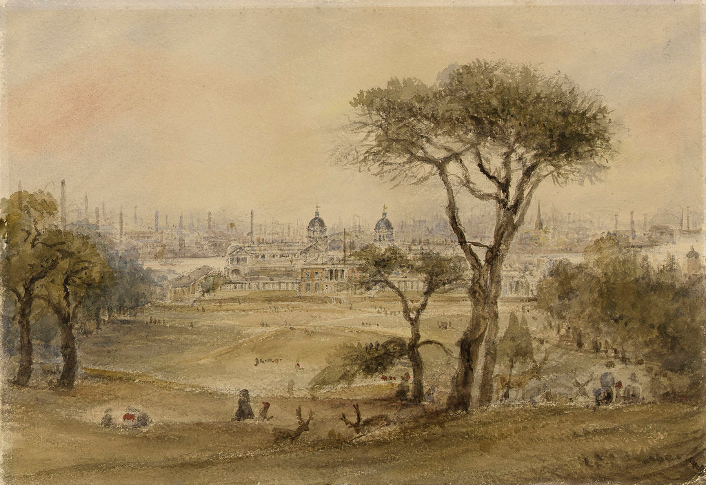 Detail of View across the park from the south showing Greenwich by British School