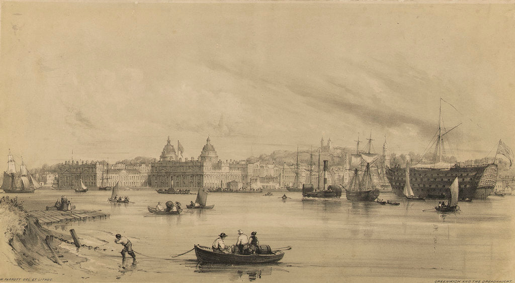 Detail of Greenwich and the Dreadnaught by William Parrott