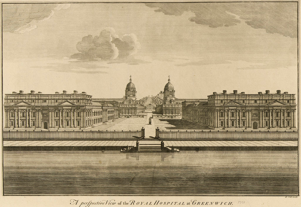 Detail of A perspective view of the Royal Hospital at Greenwich by Benjamin Cole