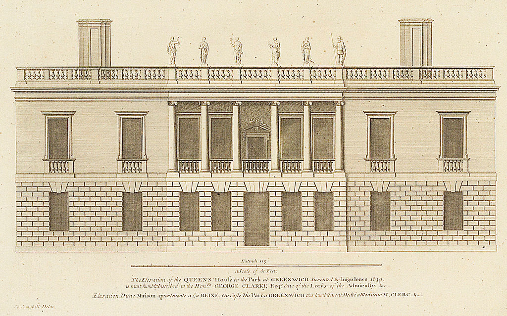 Detail of The Elevation of the Queens House to the Park at Greenwich Invented by Inigo Jones 1639 by Colen Campbell