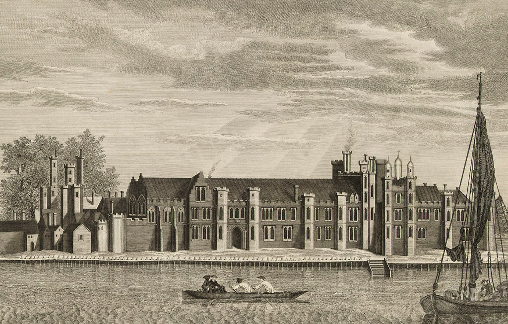 Detail of A View of the Ancient Royal Palace called Placentia, in East Greenwich (the original drawing for this is at the Bodleian, Gough Collection) by James Basire