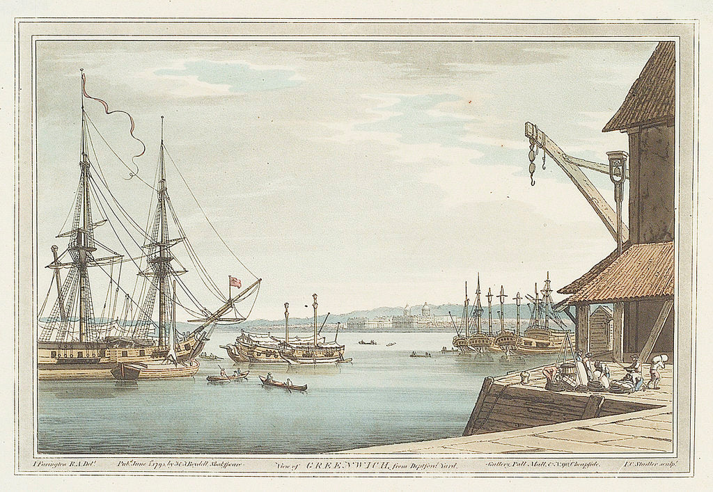 Detail of View of Greenwich from Deptford Yard by Joseph Farington