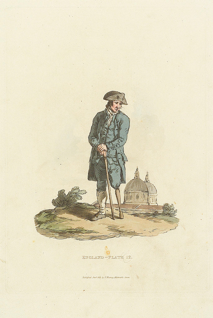 Detail of 'England - Plate 12.' A Greenwich Pensioner with wooden leg leaning on a stick by John Murray