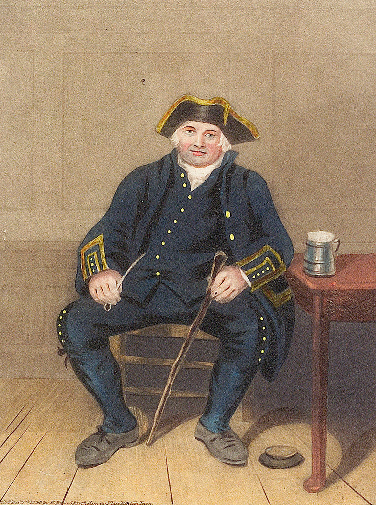Detail of Portrait of Greenwich Pensioner, seated with clay pipe and tankard by Henry Dawe