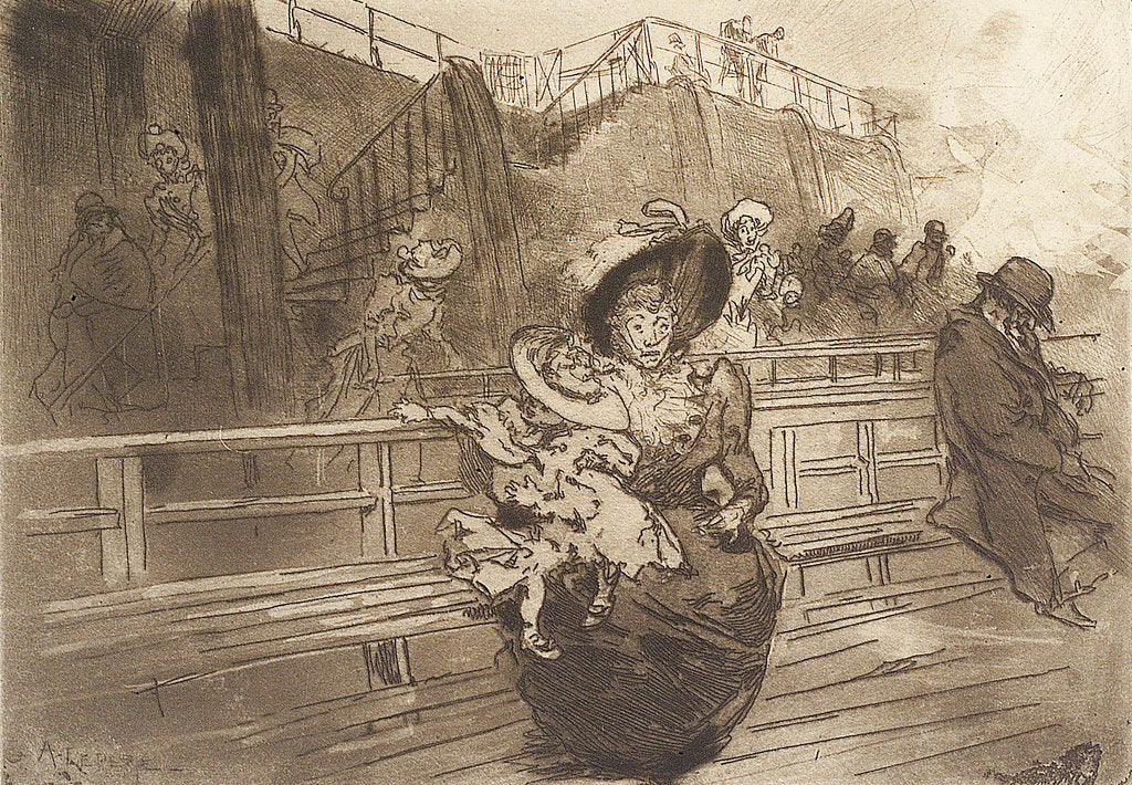 Detail of Departure from Greenwich. Scene on deck of Thames passenger vessel by Auguste Lepere