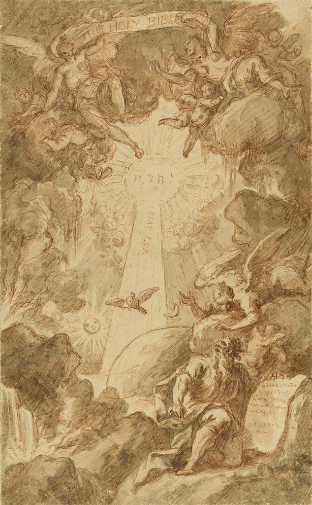 Detail of Drawing for the engraving by C. du Bosc in the bible of the Royal Naval College Chapel by James Thornhill