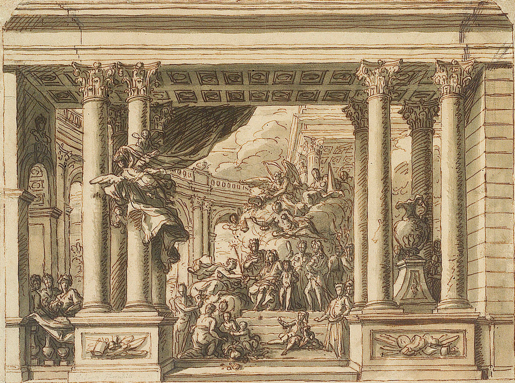 Detail of The Painted Hall, Greenwich Hospital: design for the west wall by James Thornhill