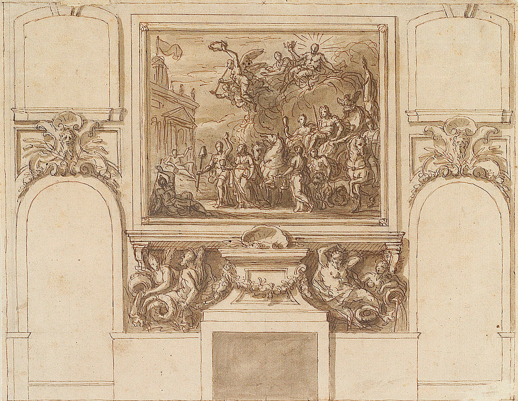 Detail of The Painted Hall, Greenwich Hospital: sketch for George I landing at Greenwich on the north wall, upper hall by James Thornhill