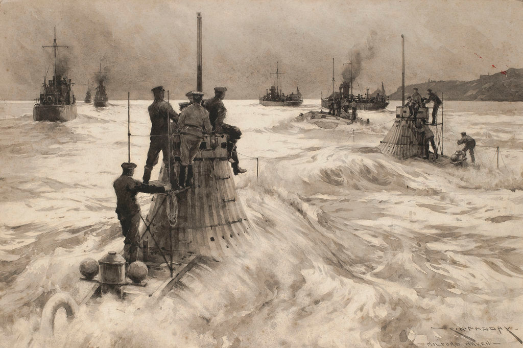 Detail of New submarine leaving Milford Haven to go into action by Charles M. Padday