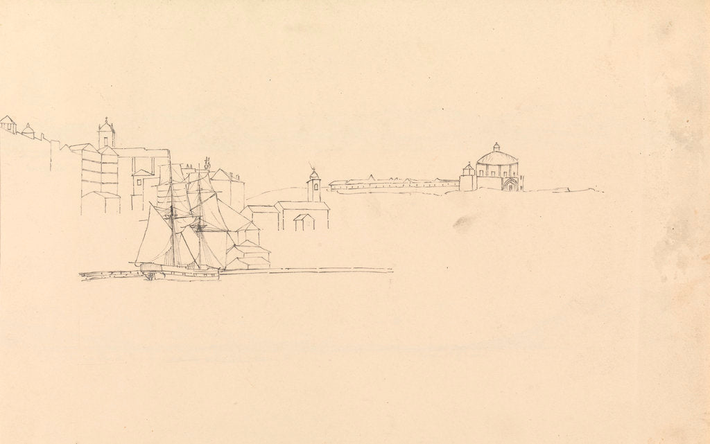 Detail of Sketch of two-masted sailing vessel off a Mediterranean port by John Christian Schetky