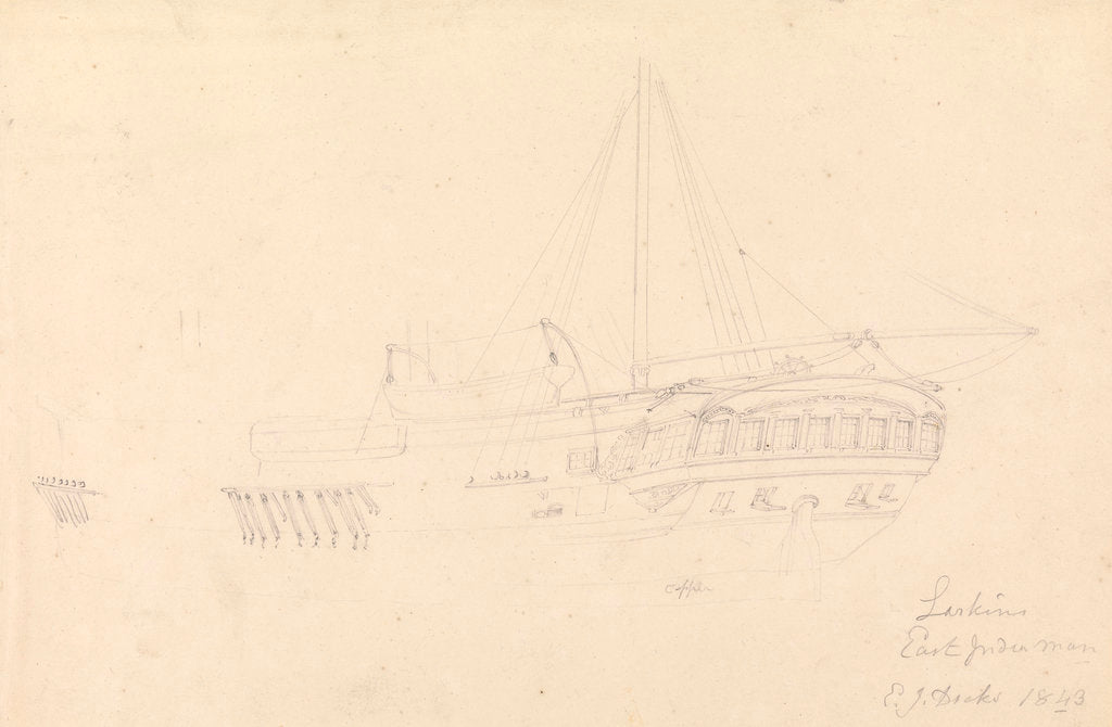 Detail of Drawing of the hull and stern of the 'Larkins', East Indiaman, 1843 by John Christian Schetky