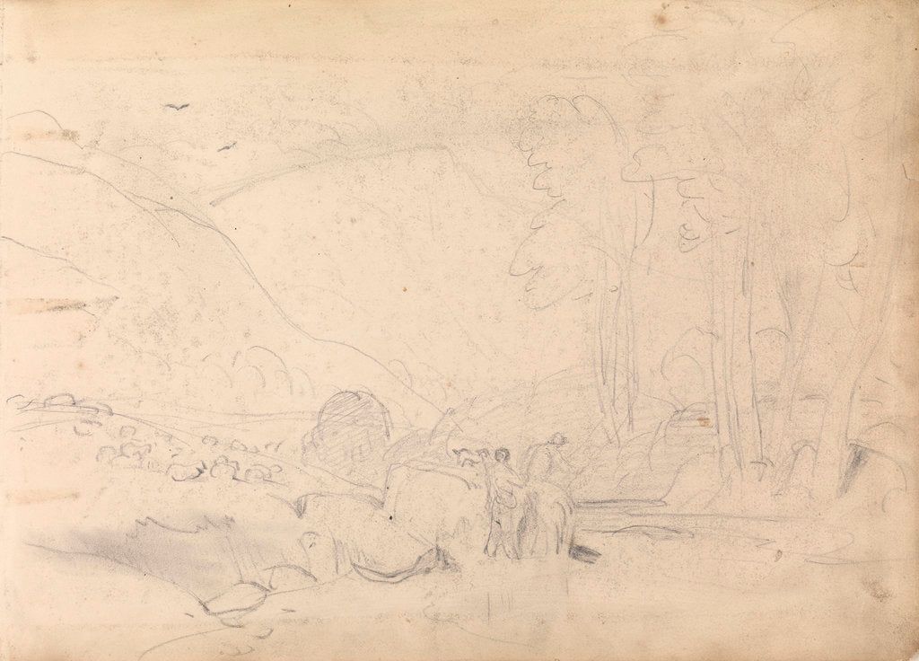 Detail of Sketch of mountainous landscape with trees and figures in foreground by John Christian Schetky