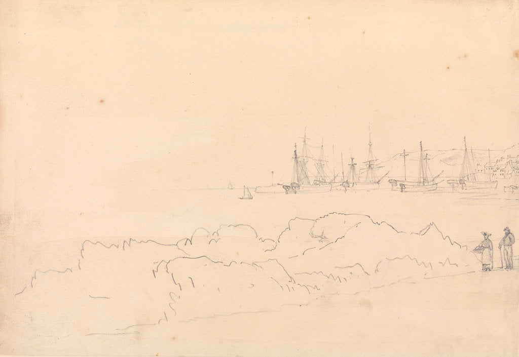 Detail of View of St. Aubin - Jersey, 1808 by John Christian Schetky