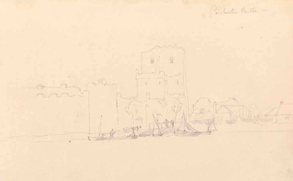 Detail of Drawing of Porchester Castle by John Christian Schetky