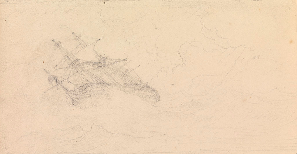 Detail of A naval frigate in a storm by John Christian Schetky