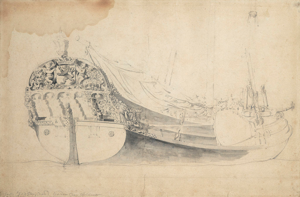 Detail of Portrait of a Dutch bezan yacht by Willem Van de Velde the Younger