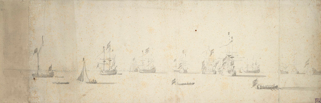 Detail of Dutch ships at anchor off the land by Willem van de Velde the Elder