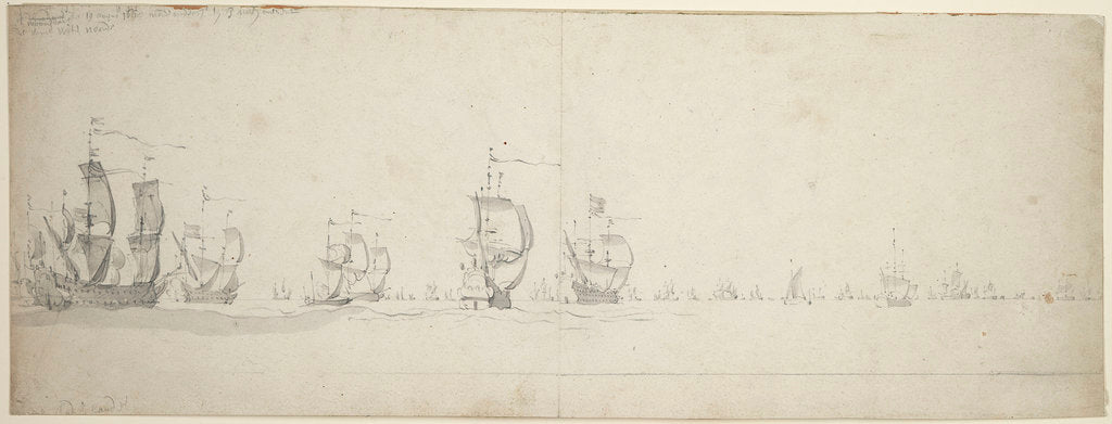 Detail of De Ruyter's fleet before the wind, 9-19 August 1665 by Willem van de Velde the Elder