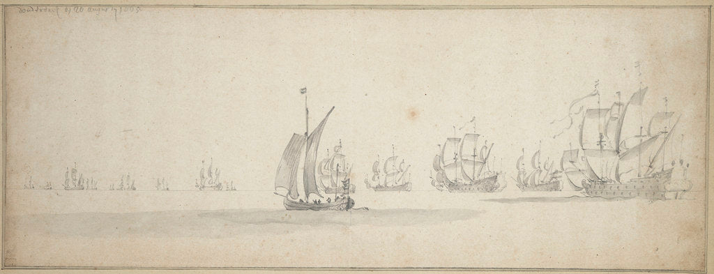Detail of The Dutch fleet on its way to the Scottish coast, 10-20 August 1665 by Willem van de Velde the Elder