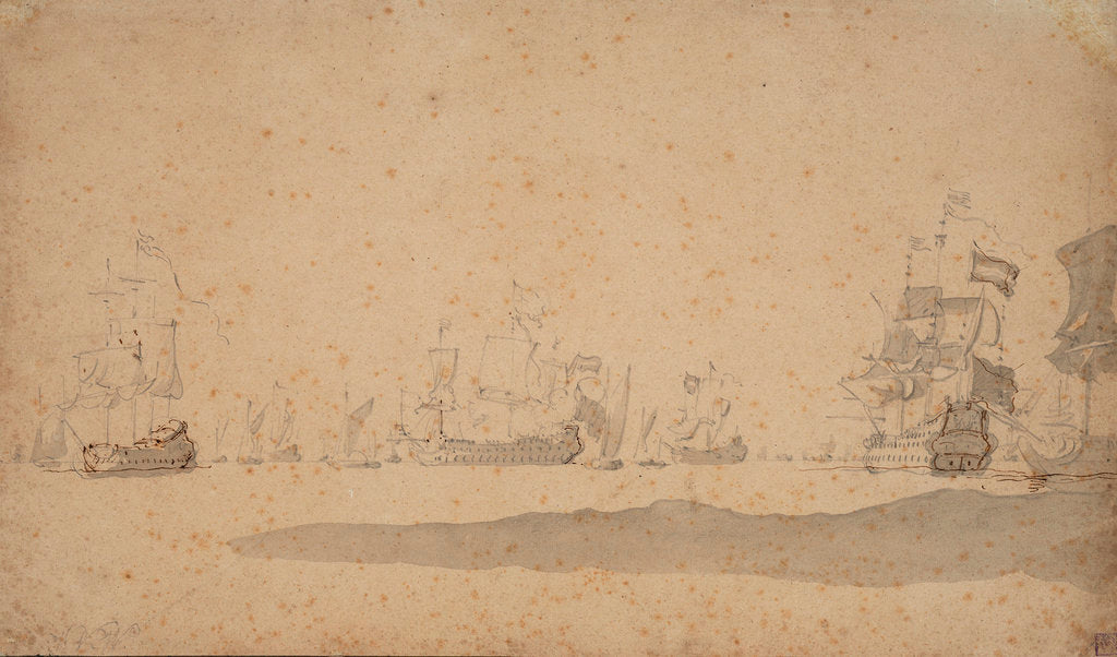 Detail of The Dutch fleet lying-to, probably in May 1672 by Willem van de Velde the Elder
