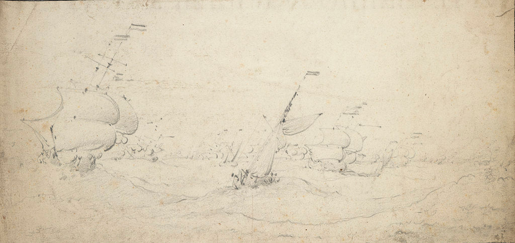 Detail of A Dutch rear squadron going to windward in a heavy sea by Willem van de Velde the Elder