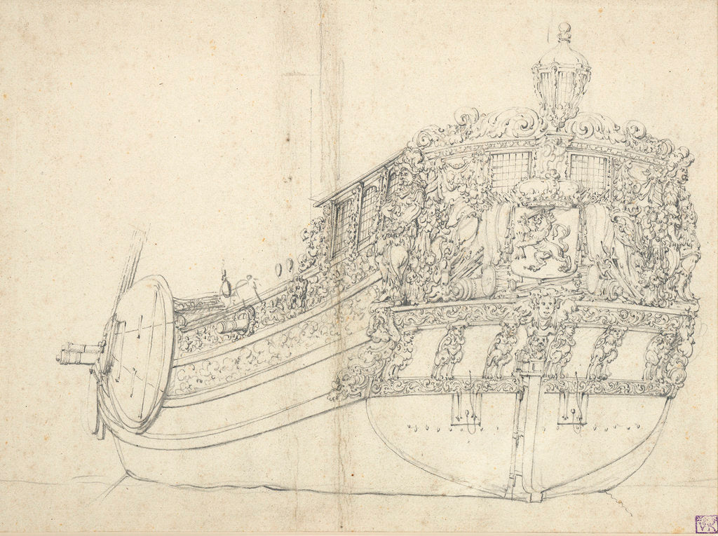 Detail of Portrait of a States yacht by Willem van de Velde the Elder