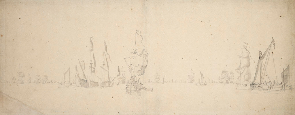 Detail of A smalschip and a despatch vessel with the Dutch fleet in light airs by Willem Van de Velde the Younger