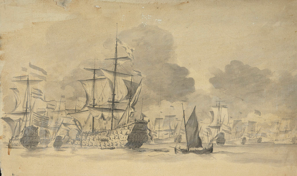 Detail of Dutch fleet at sea by Willem van de Velde the Elder