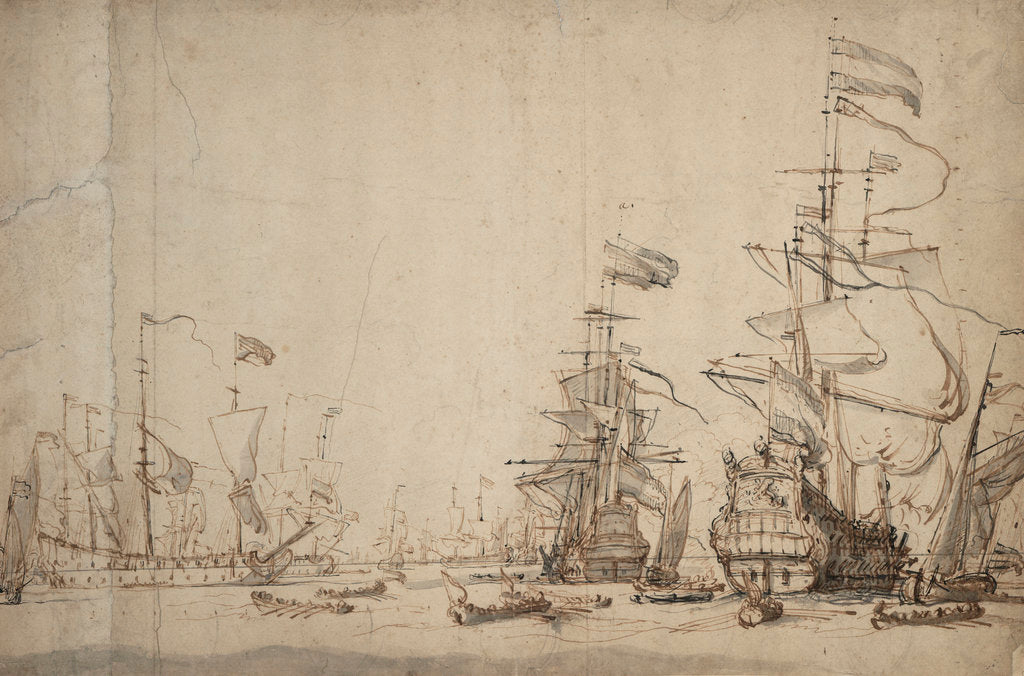 Detail of A council-of-war in the Dutch fleet? May 1665 by Willem Van de Velde the Younger