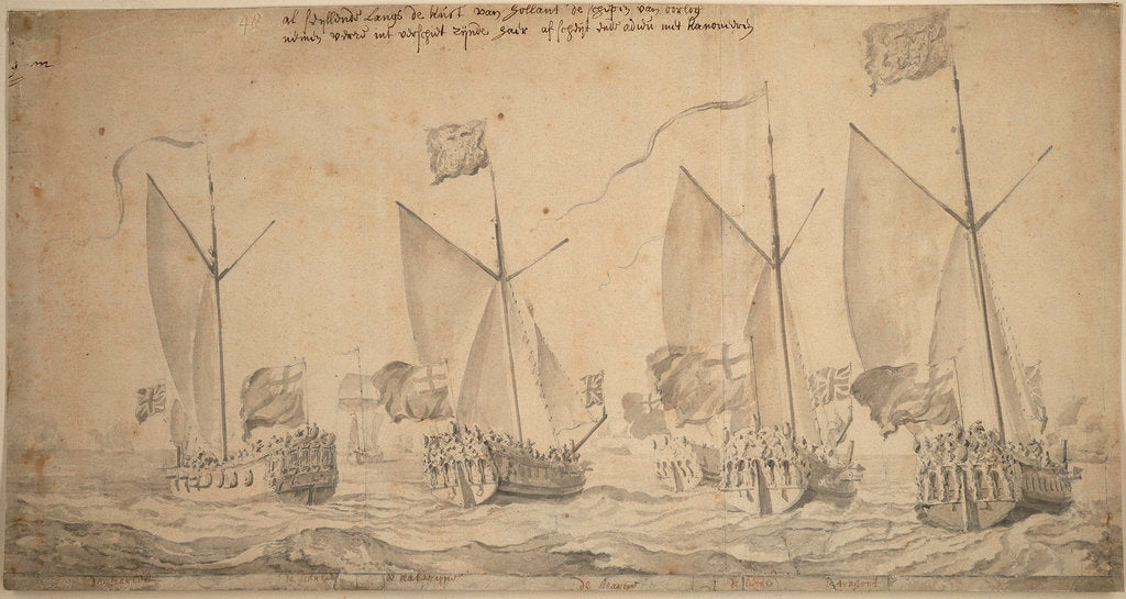 The marriage journey of William of Orange and Princess Mary to Holland, 1677. The yachts reaching the coast of Holland, 29 November - 9 December 1677. by Willem van de Velde the Elder
