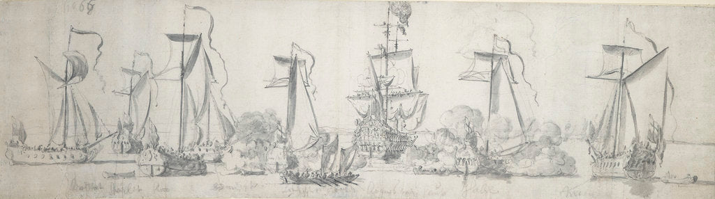 Detail of The 'Tiger' with yachts astern in light airs by Willem van de Velde the Elder