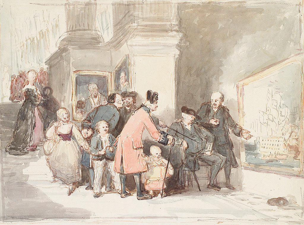 Detail of Sketch for 'A Tale of Trafalgar' showing a Greenwich pensioner, a Chelsea pensioner and other visitors in the Painted Hall by John Burnet