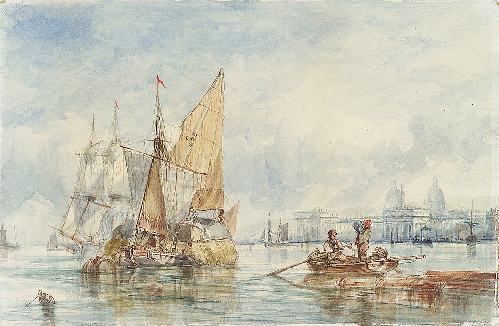 Detail of A hay barge off Greenwich by George Chambers Sr
