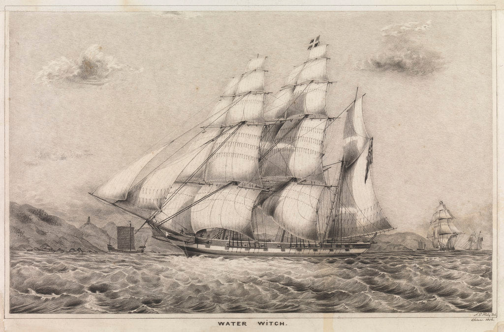 Detail of Water Witch Opium Clipper barque built by Kidderpore 1831, shown 1856 off China coast by F G Hely