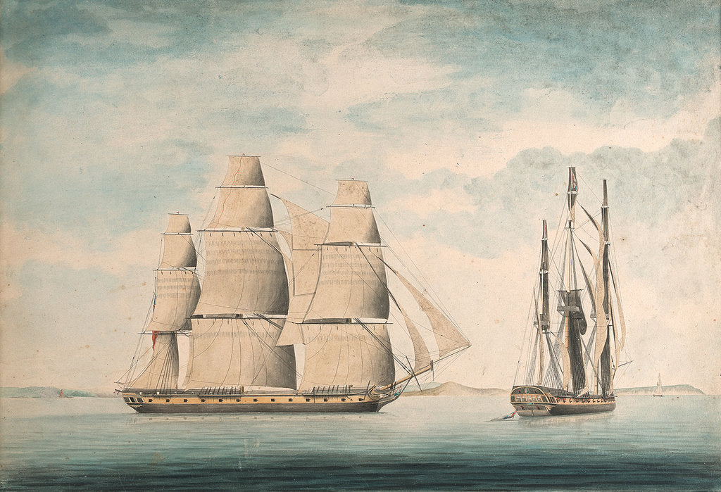 Detail of Commencement of the action between the 'Crescent' and 'La Reunion' off Cape Barfleur 20 October 1793 by William Nepecker Juste
