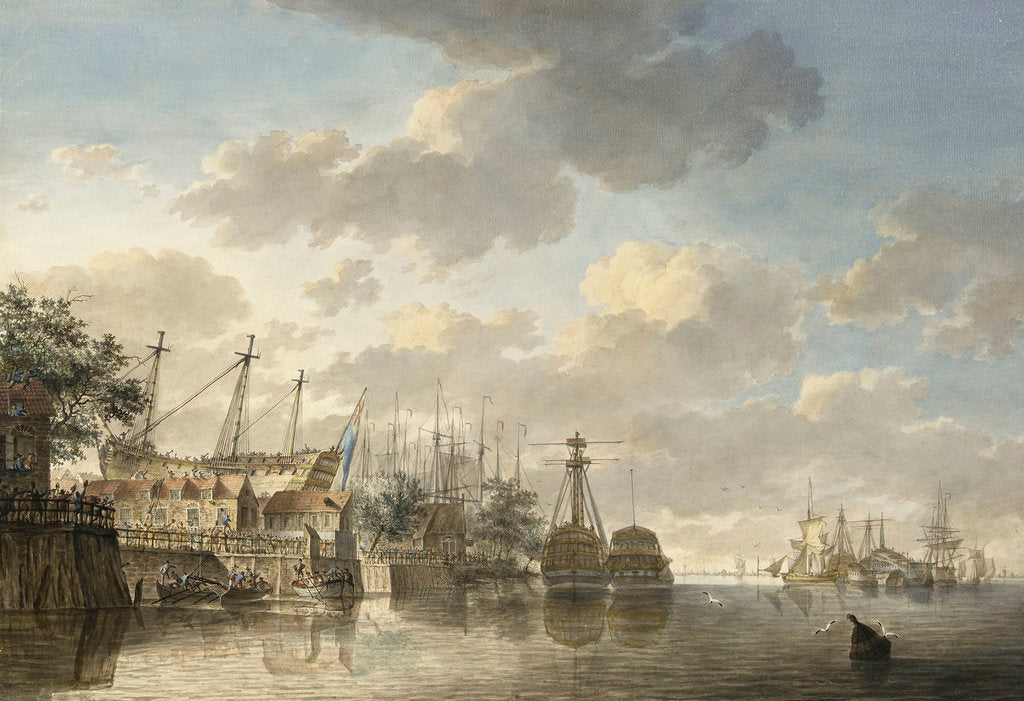 Detail of HMS 'Queen' at the King's Dock Woolwich by Hendrik Kobell