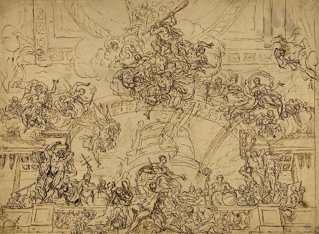 Detail of Design for the east end of the ceiling of the Painted Hall by James Thornhill